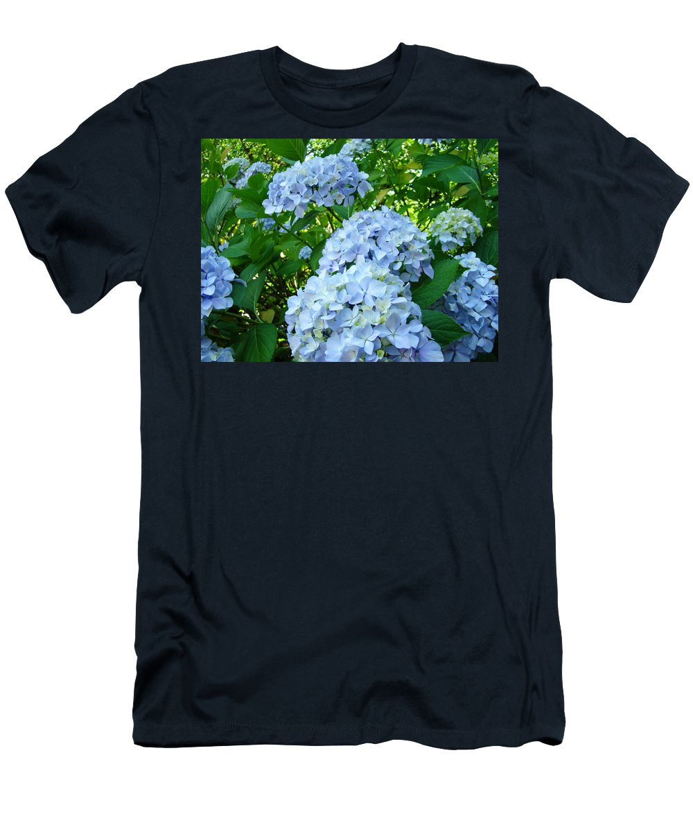 Nature Men's T-Shirt (Athletic Fit) featuring the photograph Green Nature Landscape Art Prints Blue Hydrangeas Flowers by Baslee Troutman