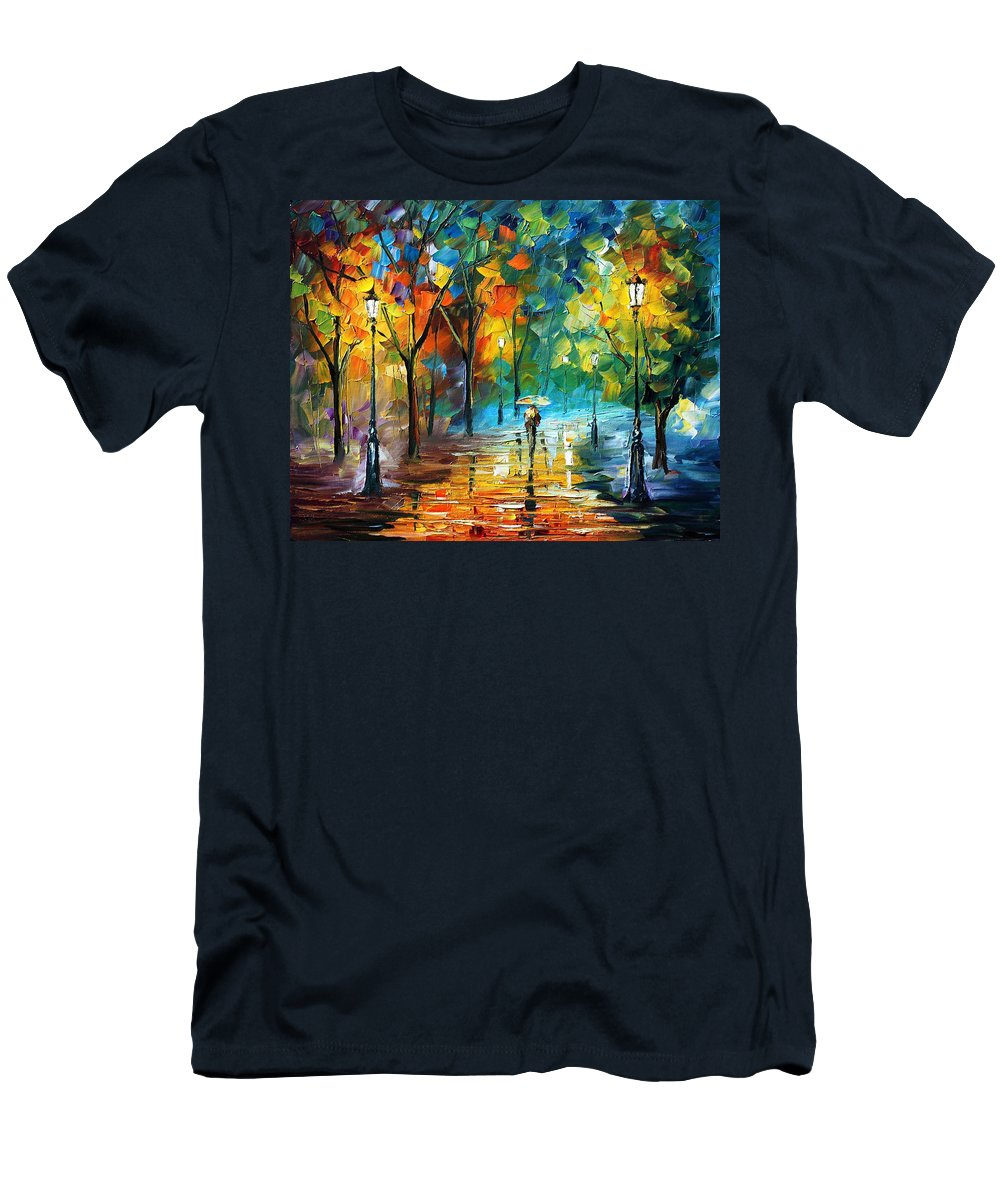 Landscape Men's T-Shirt (Athletic Fit) featuring the painting Green Tree by Leonid Afremov