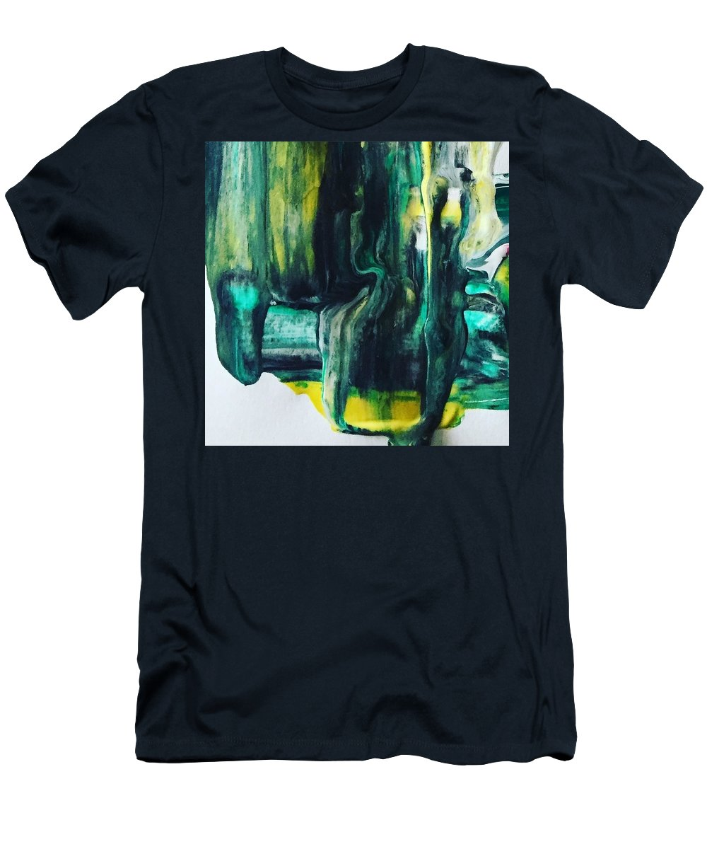 Abstract Art Men's T-Shirt (Athletic Fit) featuring the painting Greenish by Dawn Sawyers