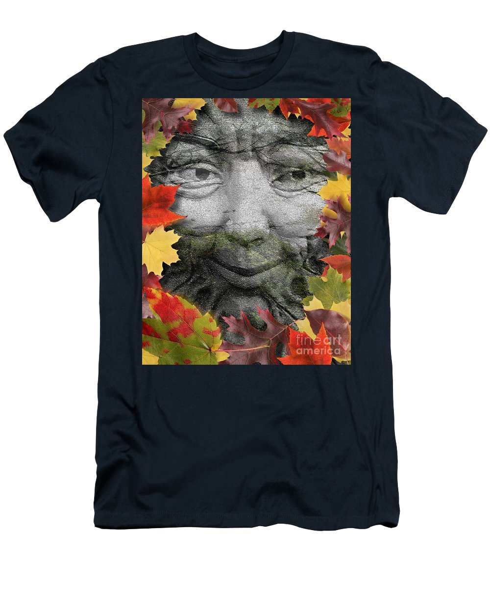 Digital Art Men's T-Shirt (Athletic Fit) featuring the digital art Greenman by Keith Dillon