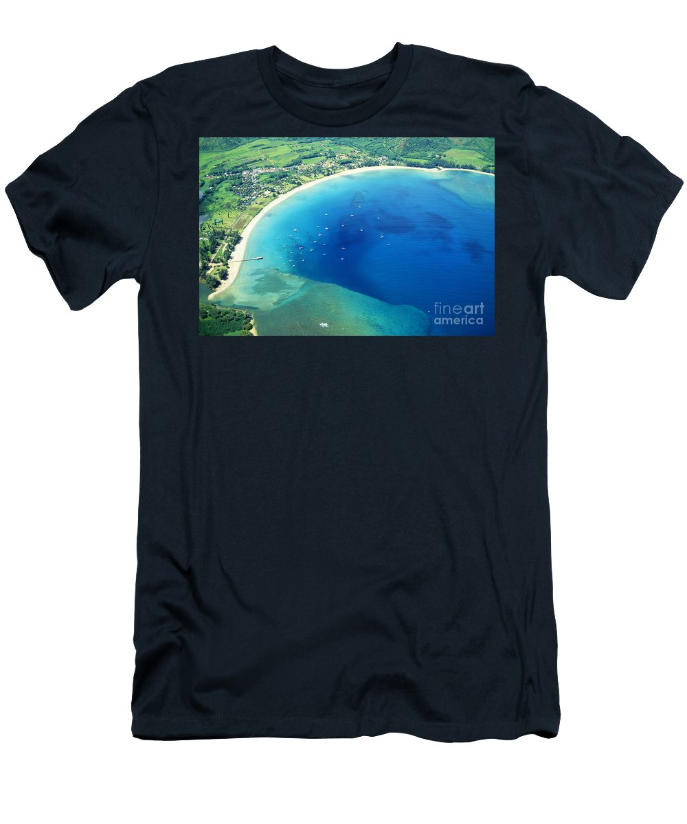 Above Men's T-Shirt (Athletic Fit) featuring the photograph Hanalei Bay by William Waterfall - Printscapes