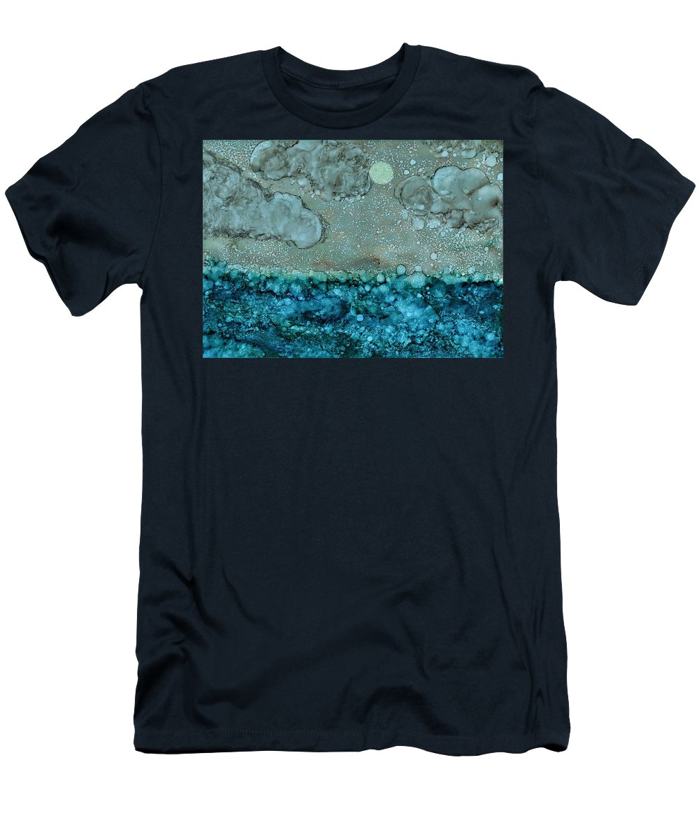 Abstract Men's T-Shirt (Athletic Fit) featuring the painting Hazy Storm by Kelly Carballo