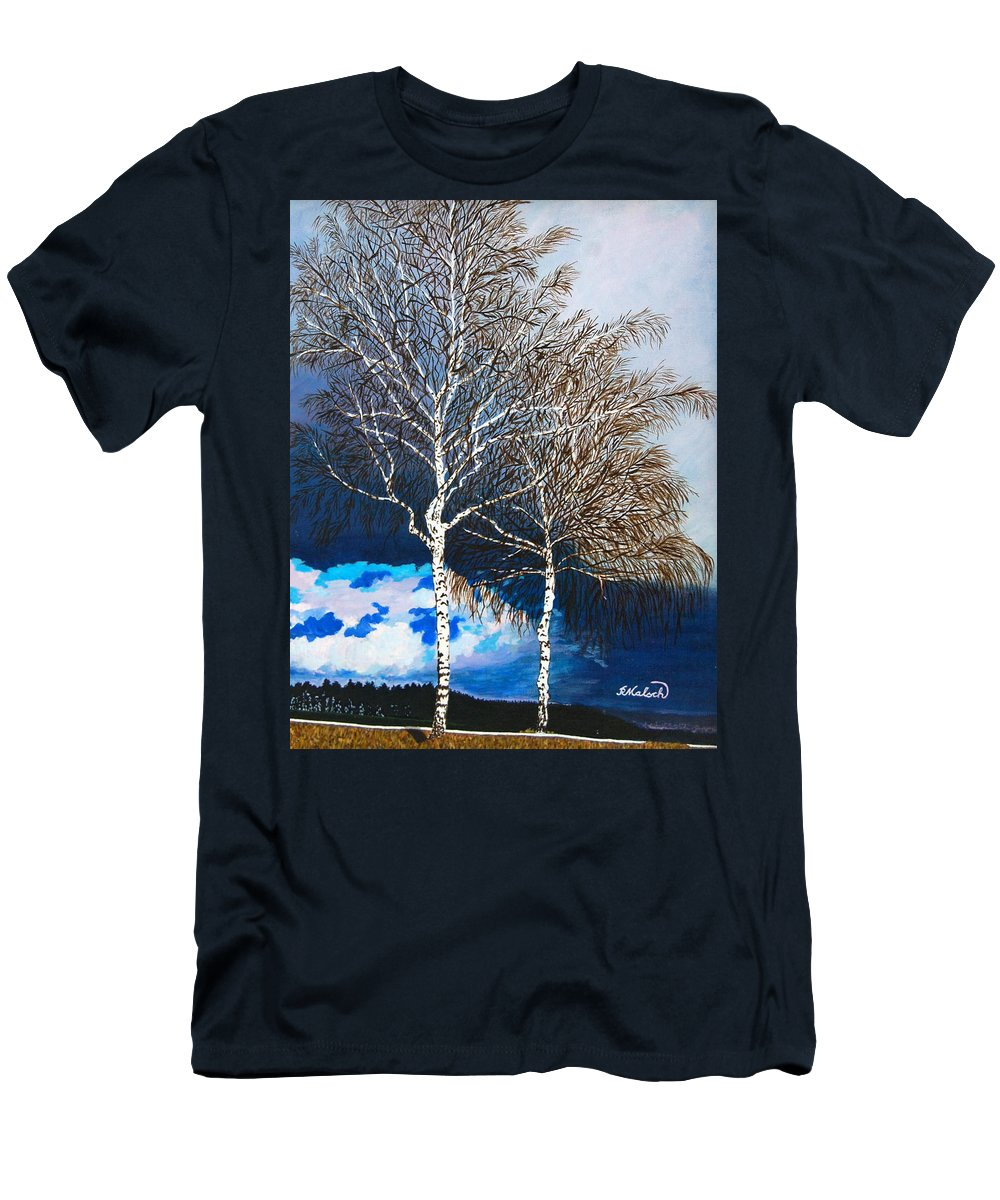 Landscape Men's T-Shirt (Athletic Fit) featuring the painting Healthy Trees by Rita Lulay Malsch