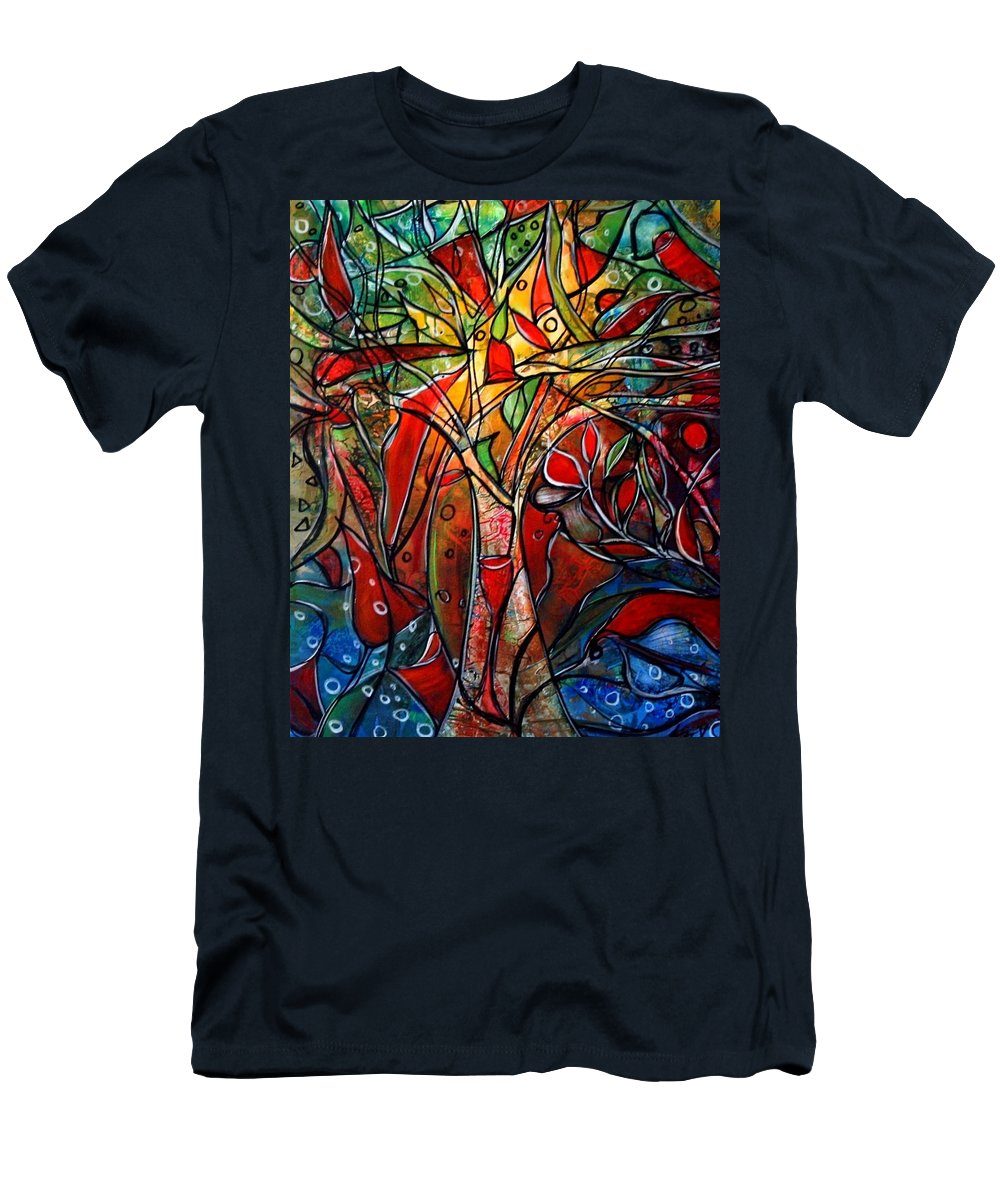 Landscape Men's T-Shirt (Athletic Fit) featuring the painting Hidden Treasure by Luiza Vizoli