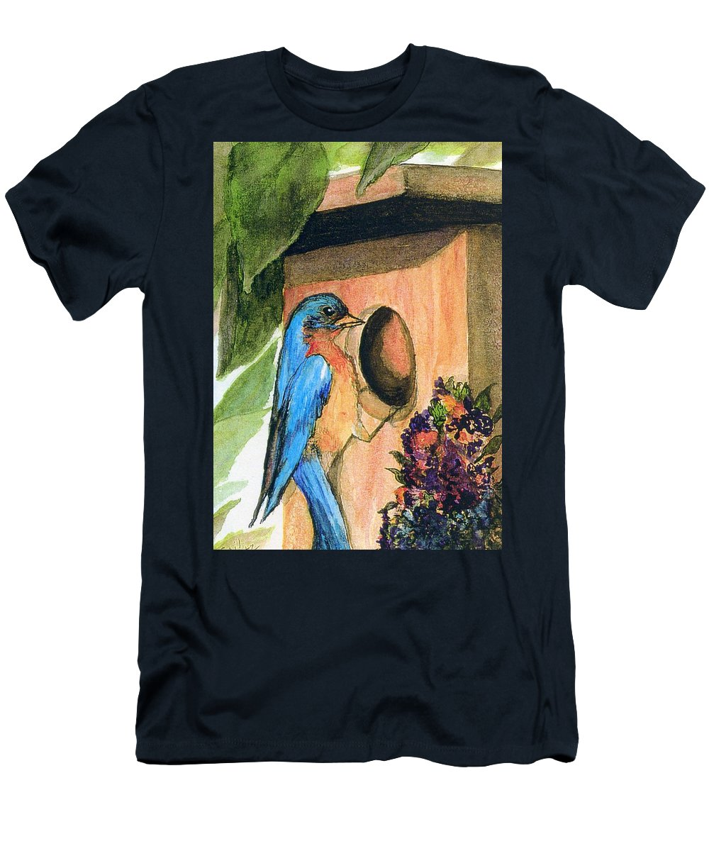 Bluebirds Men's T-Shirt (Athletic Fit) featuring the painting Home Sweet Home by Gail Kirtz
