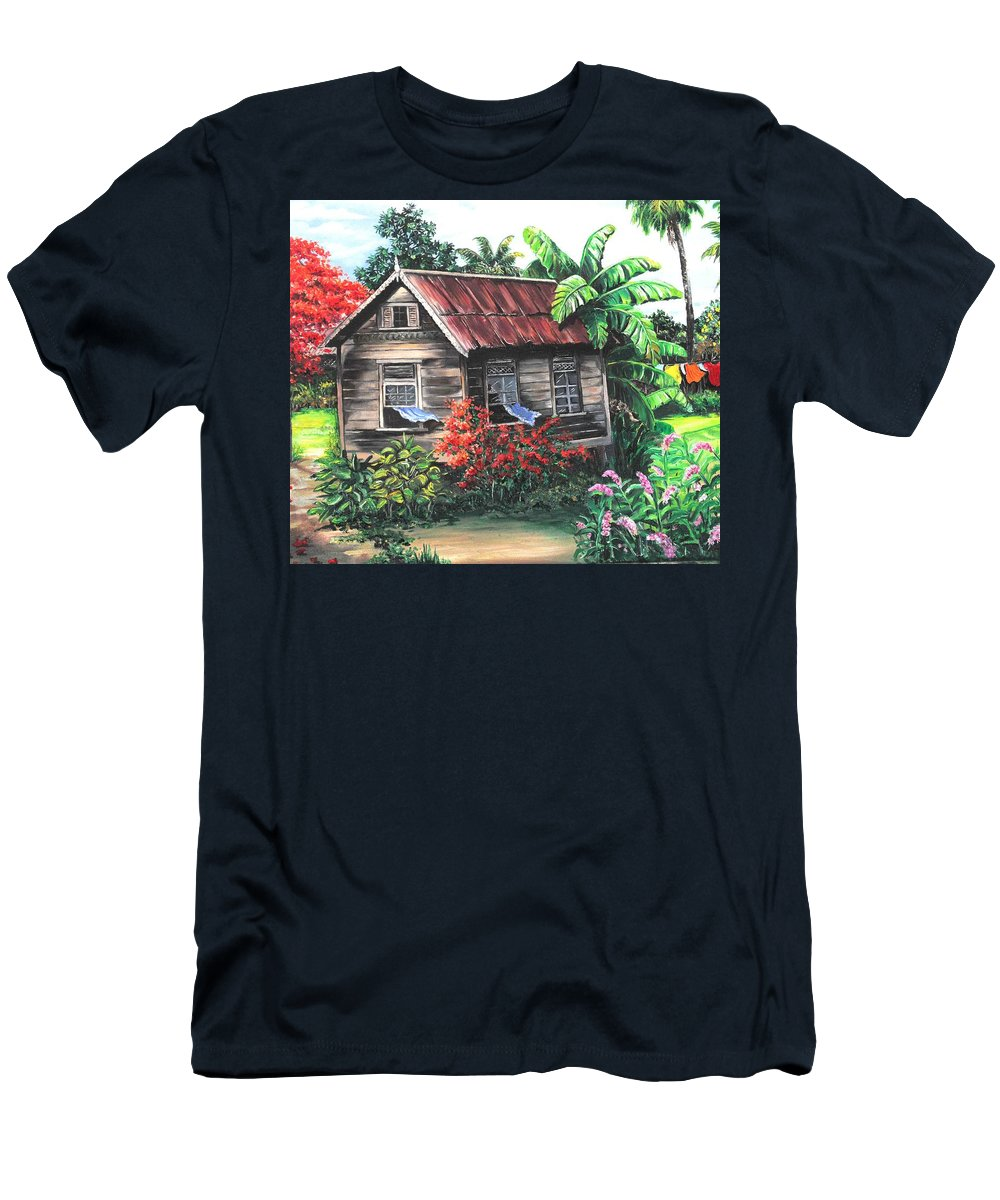 Caribbean House T-Shirt featuring the painting Home Sweet Home by Karin Dawn Kelshall- Best