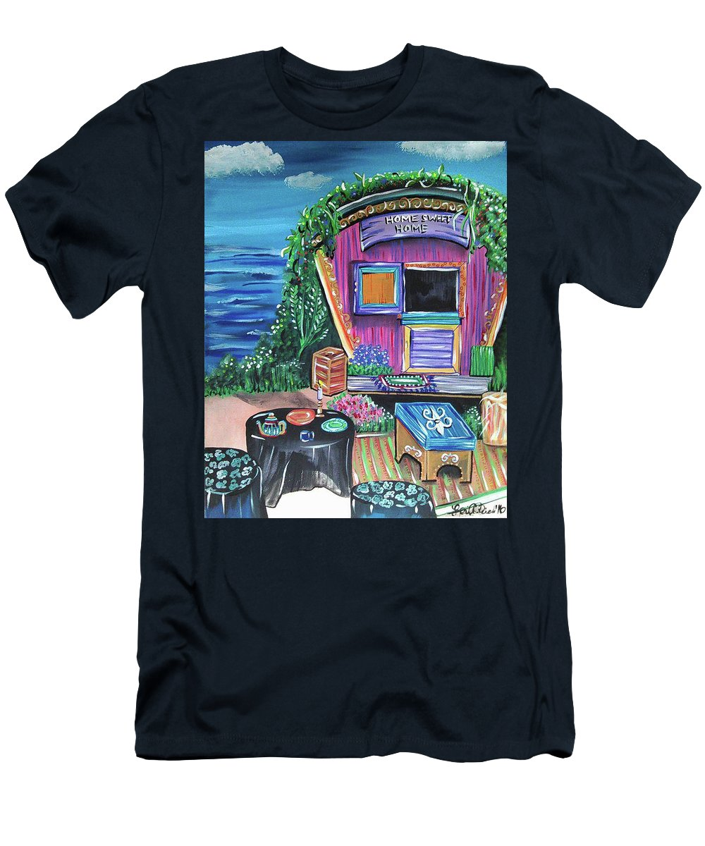 Gypsy Wagon Home Vines Beach Fortune Teller Carnival Lifestyle Free Spirit Ocean Wooden Crate Tea Stools Rug Door Clouds Water Flowers Men's T-Shirt (Athletic Fit) featuring the painting Home Sweet Home by Lori Teich