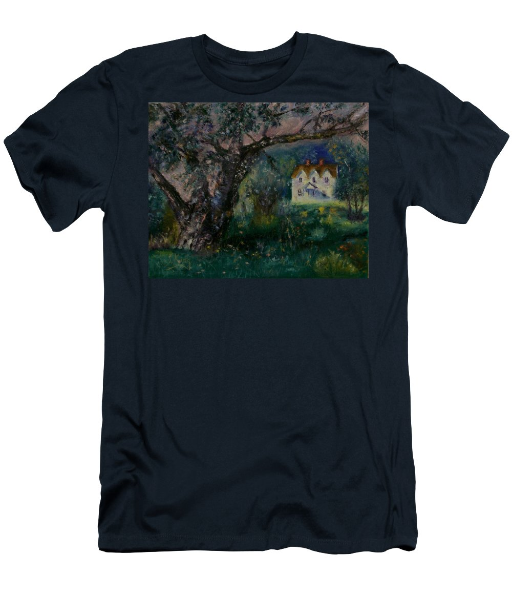 Landscape Men's T-Shirt (Athletic Fit) featuring the painting Homestead by Stephen King