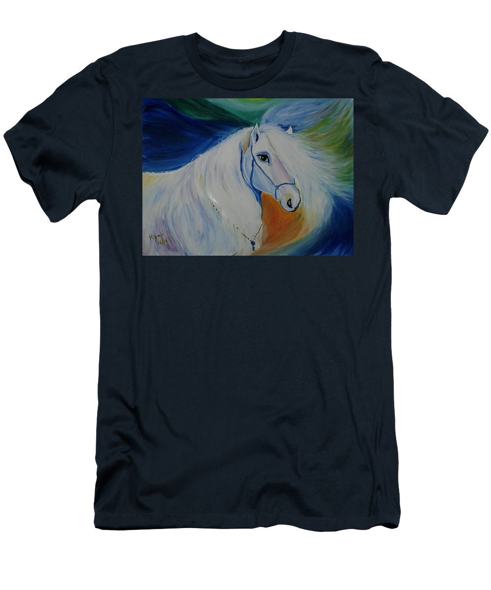 Horse Painting Men's T-Shirt (Athletic Fit) featuring the painting Horse Painting- Knight In Dream by Piyali Mitra