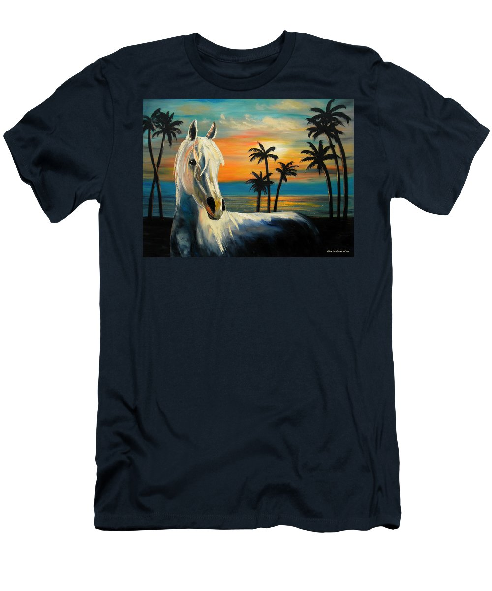 Horse Men's T-Shirt (Athletic Fit) featuring the painting Horses In Paradise Tell Me Your Dream by Gina De Gorna