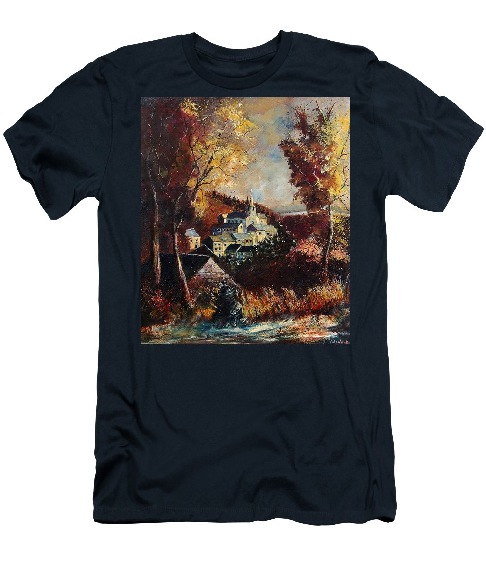 Tree T-Shirt featuring the painting Houyet village Belgium by Pol Ledent