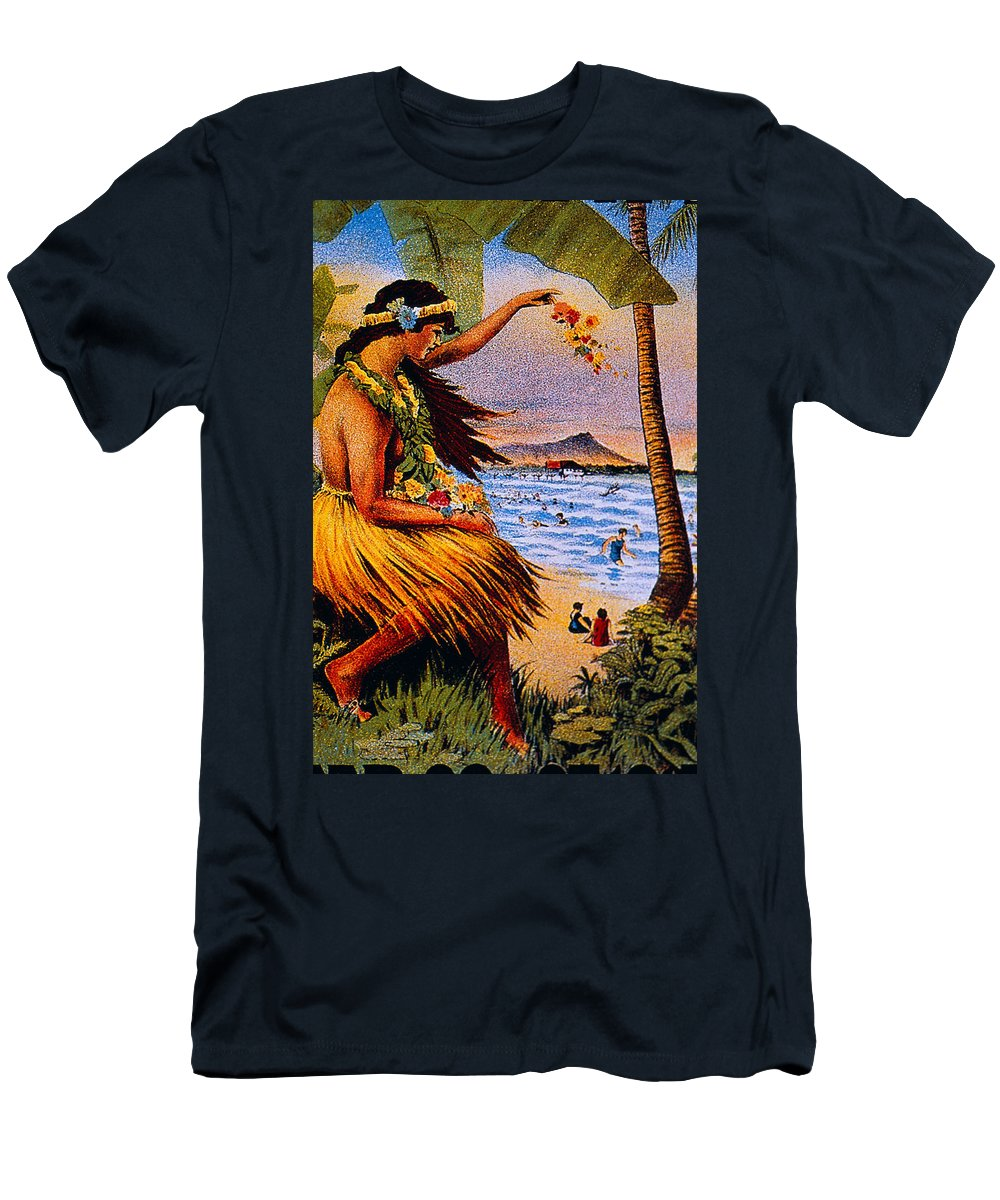1915 Men's T-Shirt (Athletic Fit) featuring the painting Hula Flower Girl 1915 by Hawaiian Legacy Archive - Printscapes