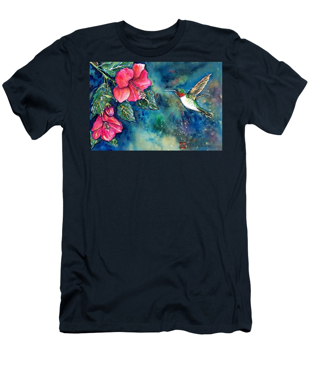 Birds Men's T-Shirt (Athletic Fit) featuring the painting Hummingbird by Norma Boeckler