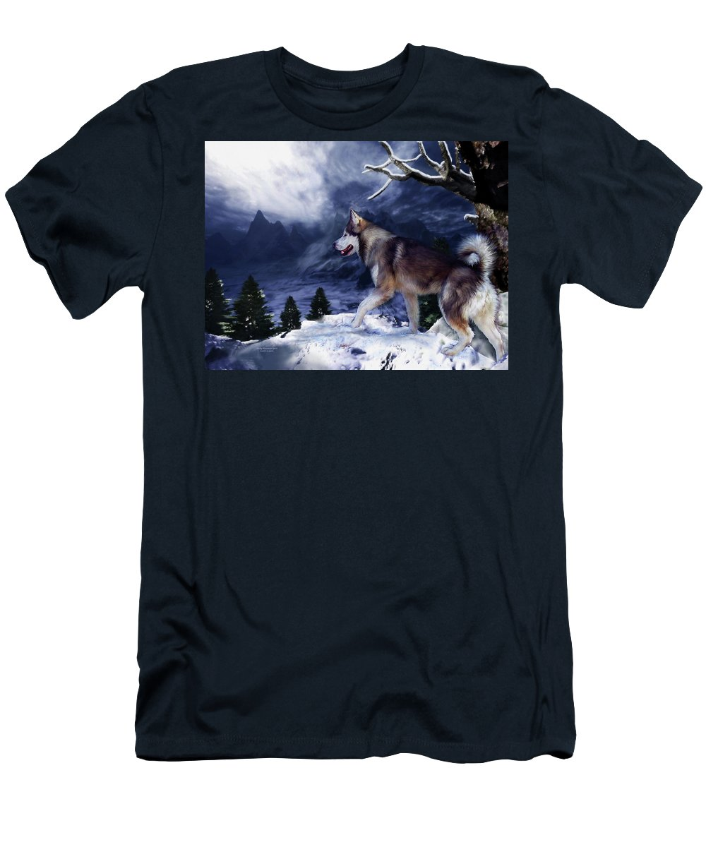 Husky Men's T-Shirt (Athletic Fit) featuring the painting Husky - Mountain Spirit by Carol Cavalaris