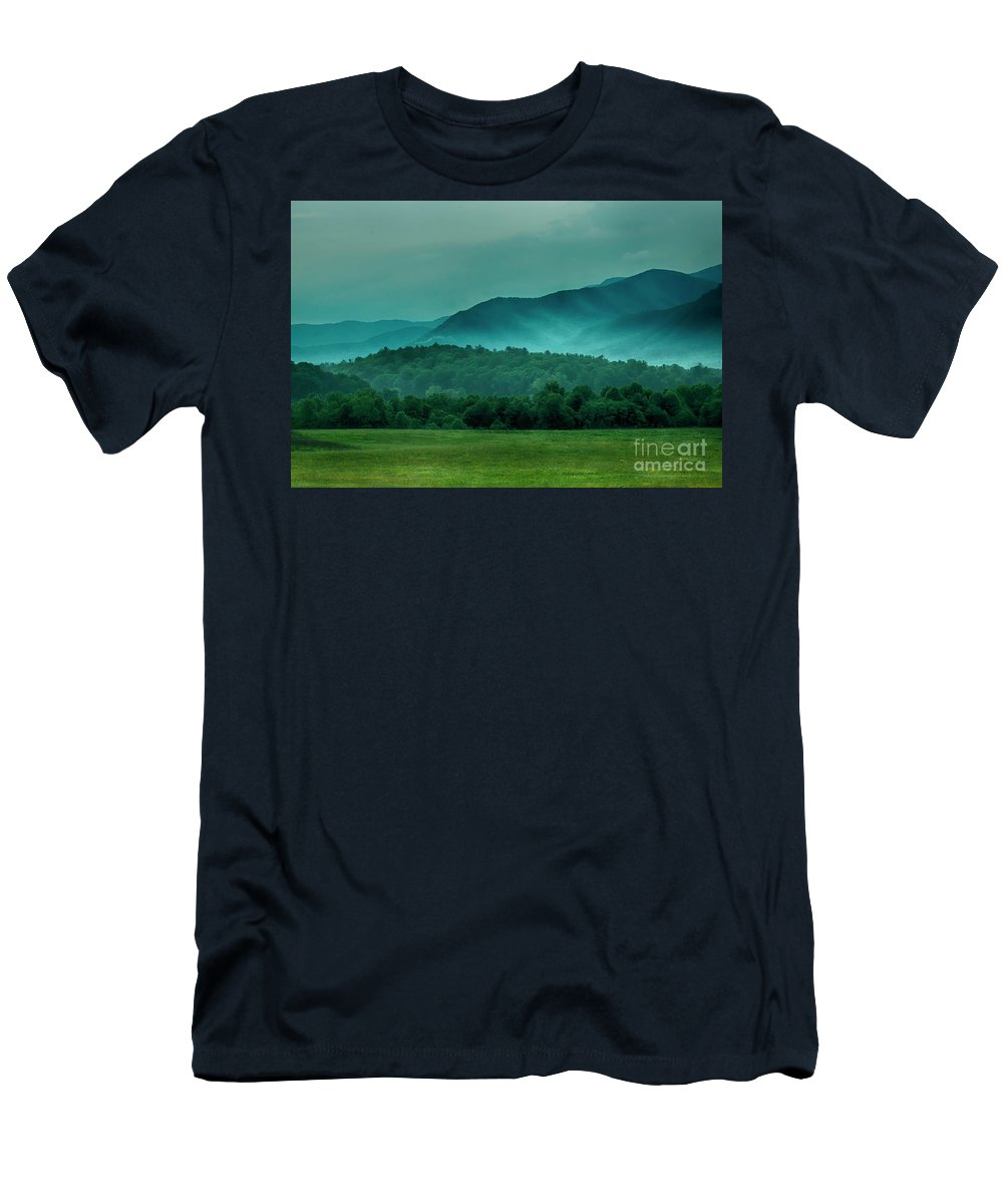 Forest Men's T-Shirt (Athletic Fit) featuring the photograph Hyatt Lane View by Barbara Rabek
