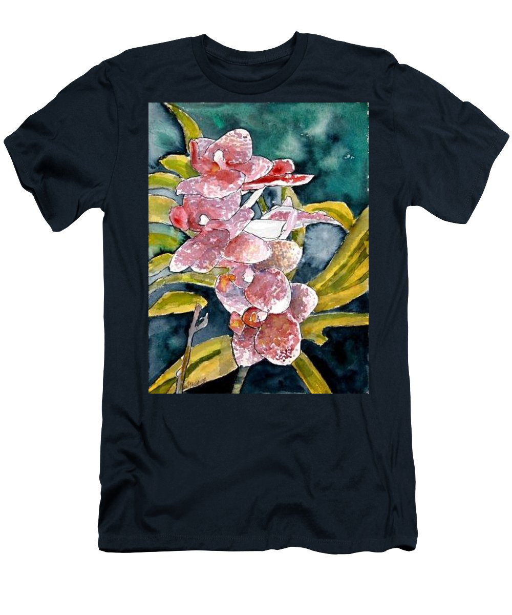 Orchid Men's T-Shirt (Athletic Fit) featuring the painting Hybrid Orchids Orchid Flowers by Derek Mccrea