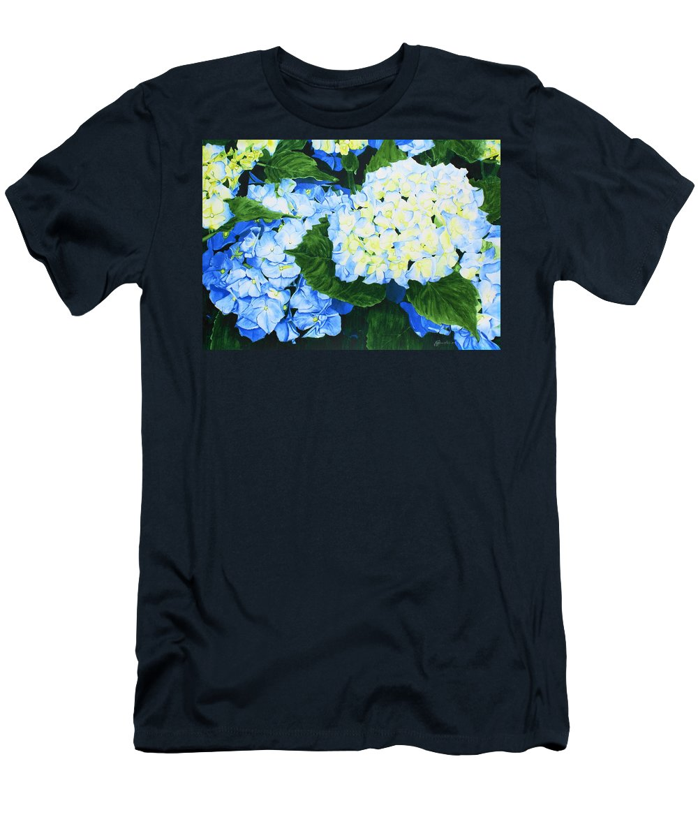 Hydrangeas Men's T-Shirt (Athletic Fit) featuring the painting Hydrangeas by Frank Hamilton