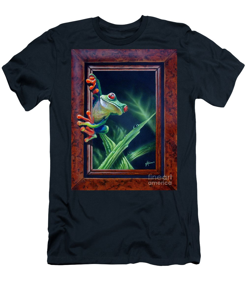 Green Tree Frog Men's T-Shirt (Athletic Fit) featuring the painting 'i Was Framed' by Greg and Linda Halom