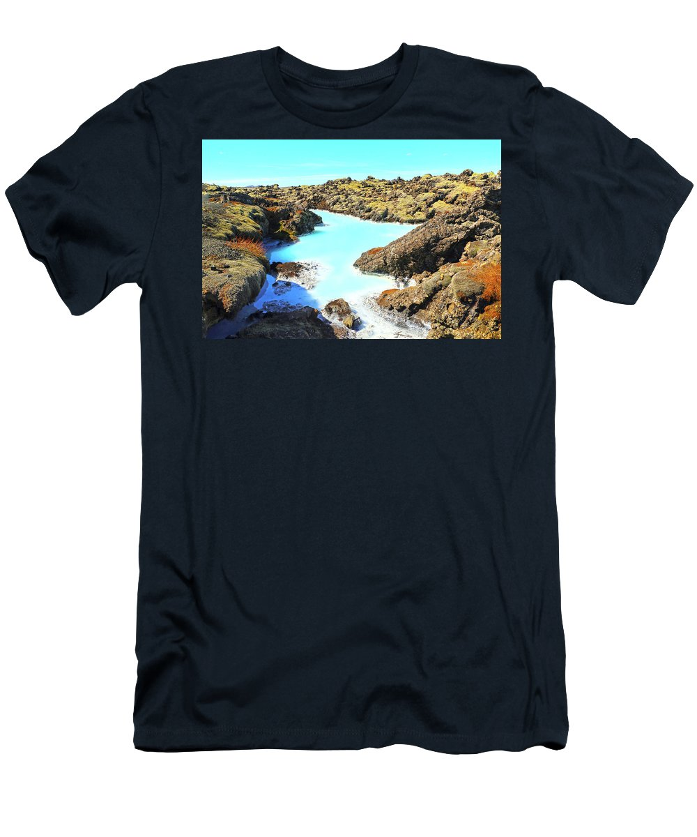 Iceland Men's T-Shirt (Athletic Fit) featuring the photograph Iceland Blue Lagoon Healing Waters by Betsy Knapp