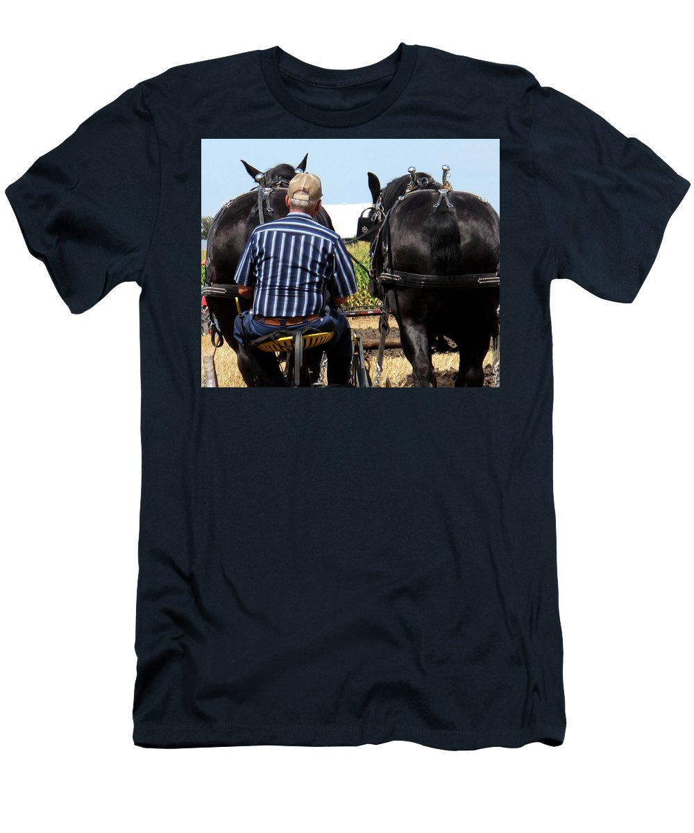 Plow Men's T-Shirt (Athletic Fit) featuring the photograph In Sync by Ian MacDonald