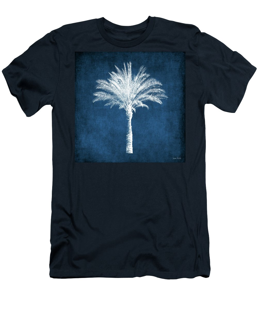 Palm Tree T-Shirt featuring the mixed media Indigo and White Palm Tree- Art by Linda Woods by Linda Woods