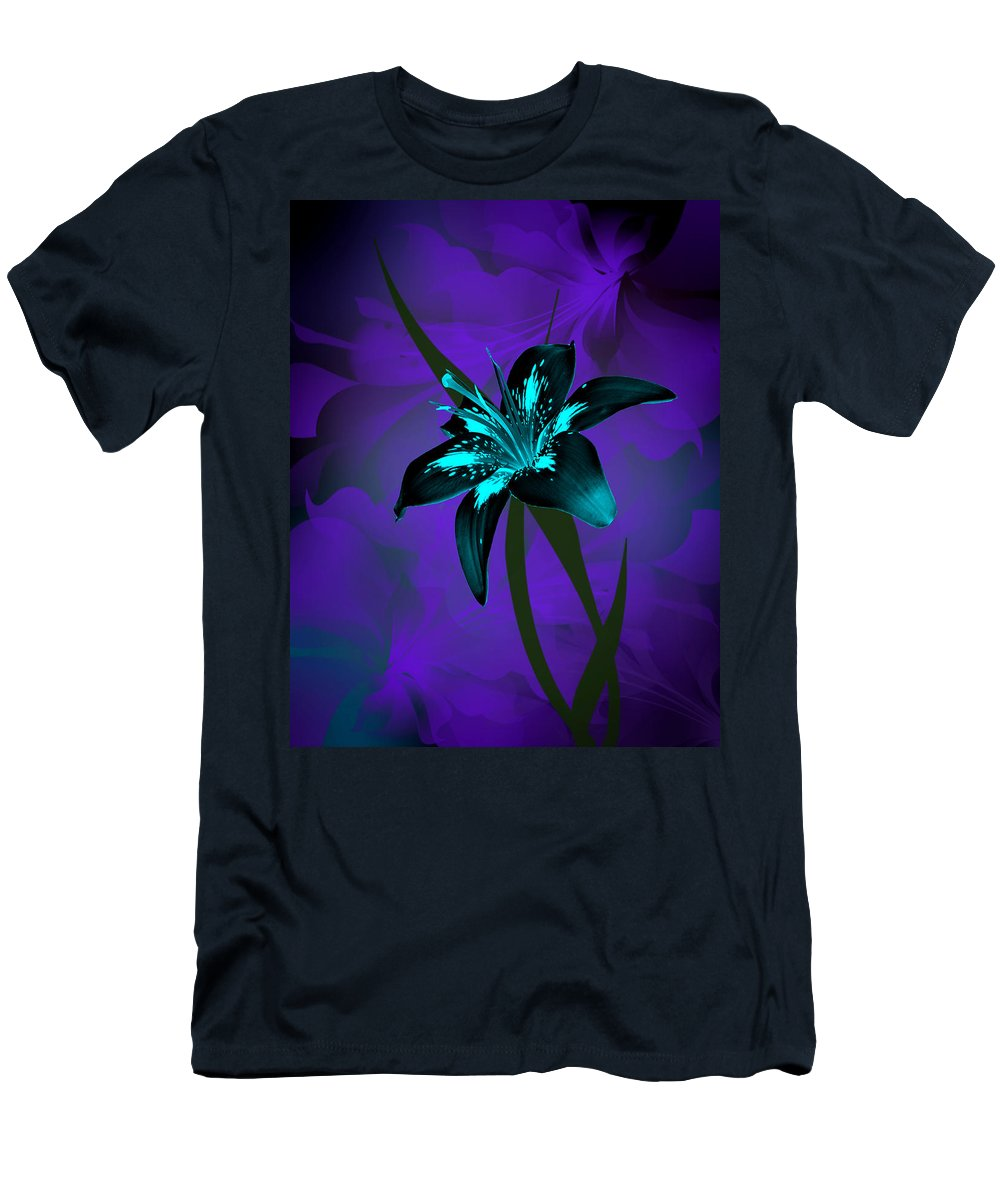 Stargazer Lily Men's T-Shirt (Athletic Fit) featuring the photograph Inverse Lily by Judy Johnson