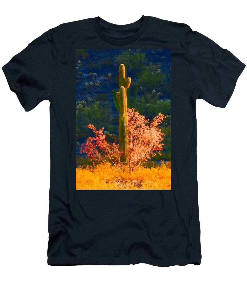 Arizona Men's T-Shirt (Athletic Fit) featuring the photograph Ironwood Saguaro Dance - Bold by Judy Kennedy