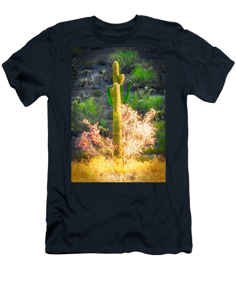 Arizona Men's T-Shirt (Athletic Fit) featuring the photograph Ironwood Saguaro Dance Vignette by Judy Kennedy