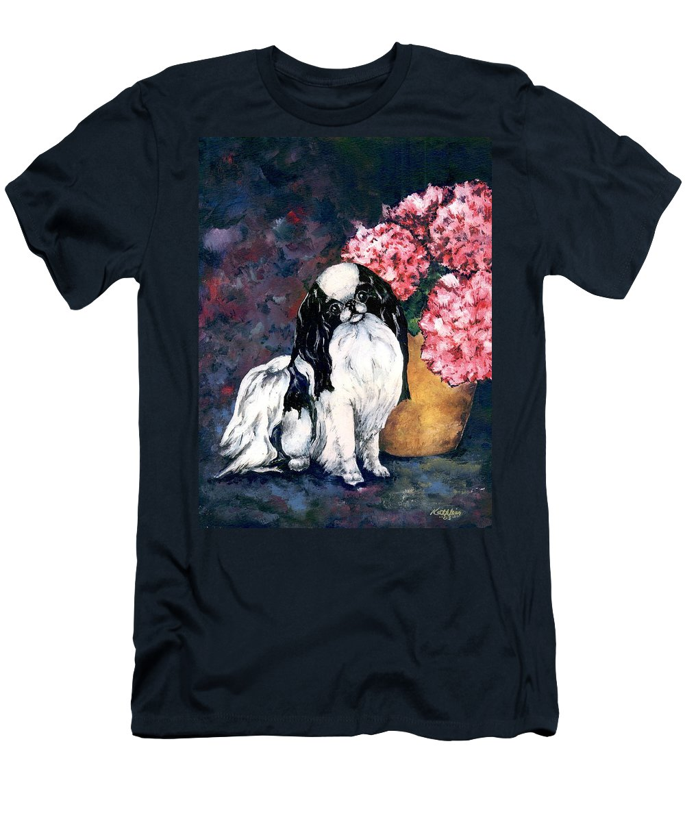 Japanese Chin Men's T-Shirt (Athletic Fit) featuring the painting Japanese Chin And Hydrangeas by Kathleen Sepulveda