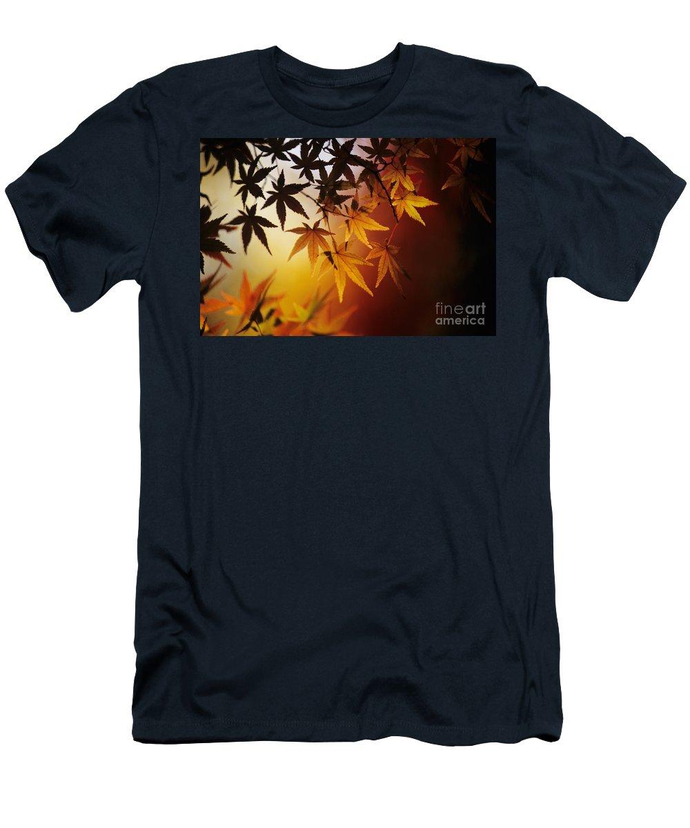 Allan Seiden Men's T-Shirt (Athletic Fit) featuring the photograph Japanese Maple Leaf by Allan Seiden - Printscapes