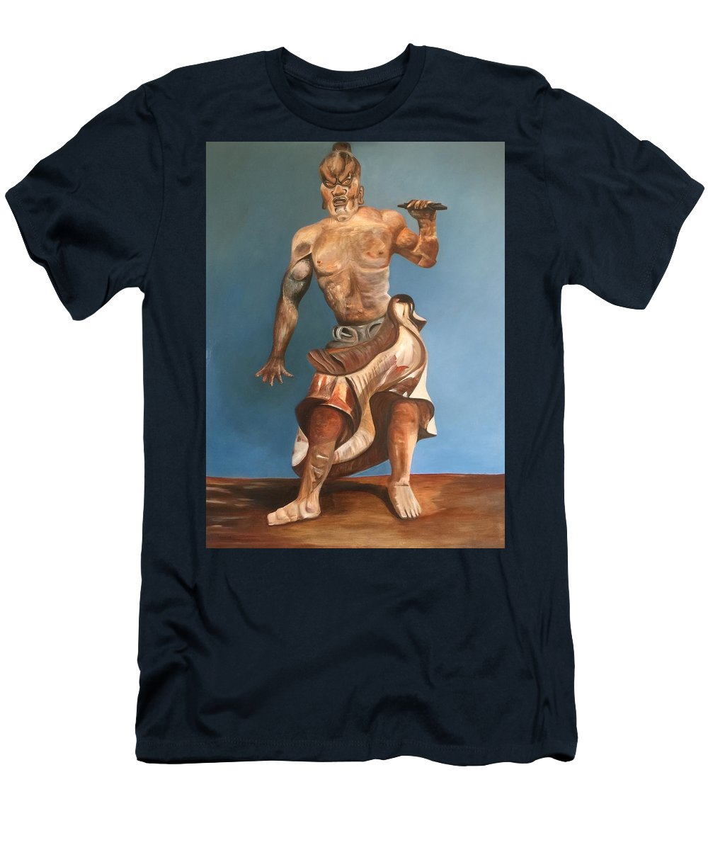 Japanese Temple Guard Men's T-Shirt (Athletic Fit) featuring the painting Japanese Temple Guard by Tino Alberts