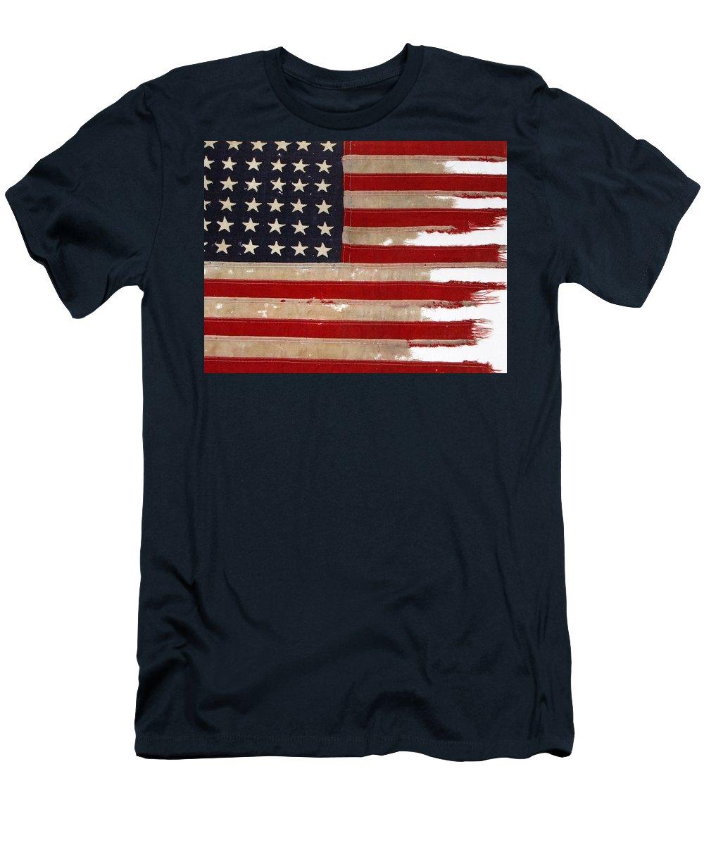 Flag Men's T-Shirt (Athletic Fit) featuring the photograph Jfk's Pt-109 Flag by Lori Pessin Lafargue