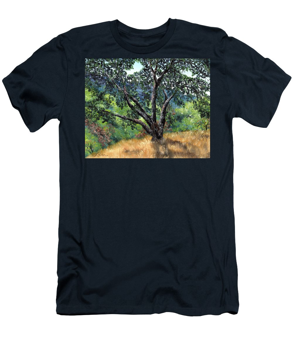 California Men's T-Shirt (Athletic Fit) featuring the painting Juan Bautista De Anza Trail Oak by Laura Iverson