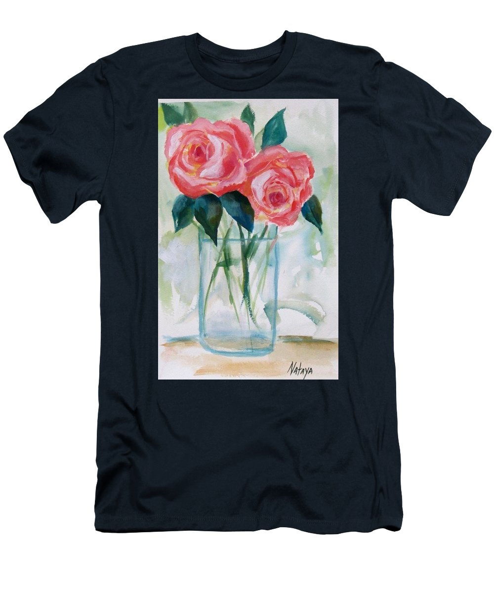 Roses Men's T-Shirt (Athletic Fit) featuring the painting Jus The Two Of Us by Nataya Crow