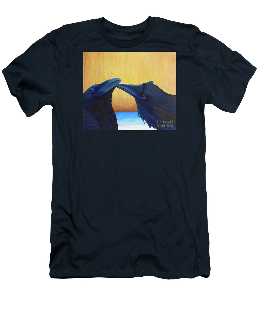 Ravens Men's T-Shirt (Athletic Fit) featuring the painting K And B by Brian Commerford
