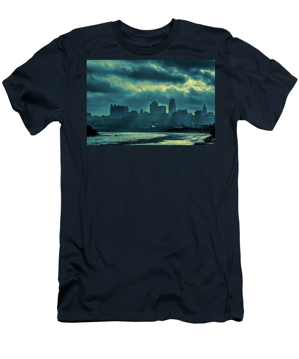 Kaw Point Men's T-Shirt (Athletic Fit) featuring the photograph Kaw Point Kansas City Skyline by Jeff Phillippi