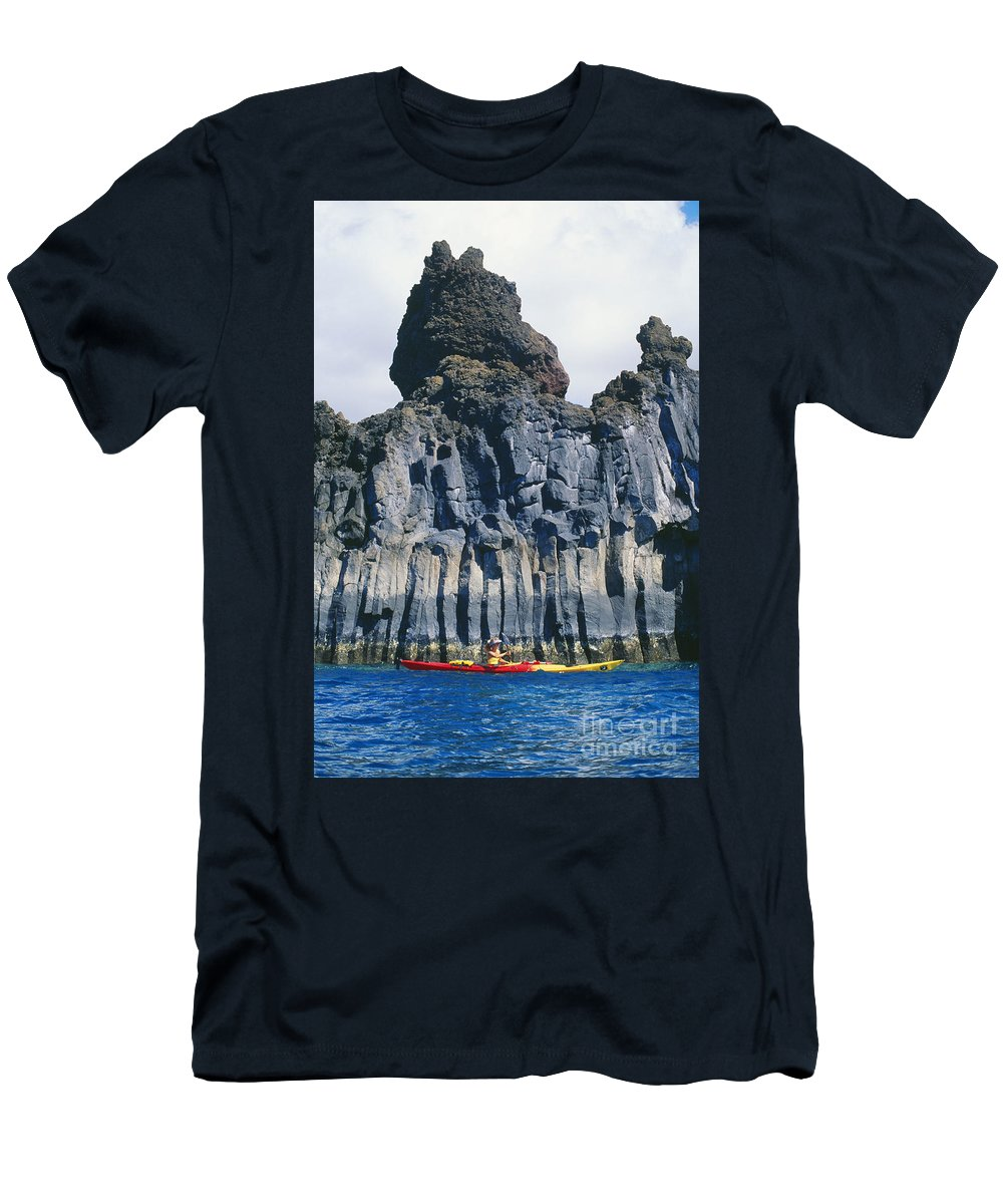 Adventure Men's T-Shirt (Athletic Fit) featuring the photograph Kayaking Past Cliffs by Ron Dahlquist - Printscapes