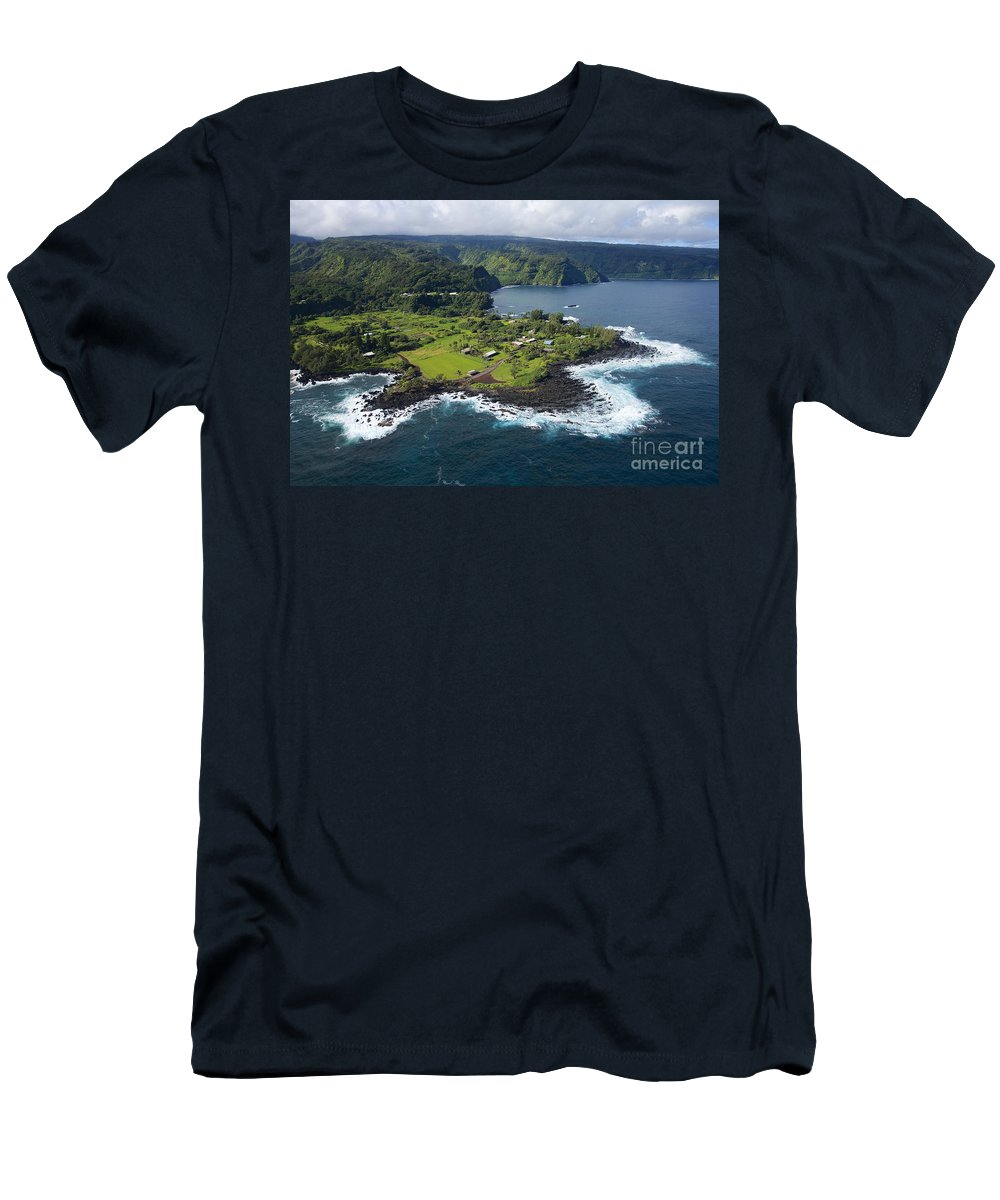 Aerial Men's T-Shirt (Athletic Fit) featuring the photograph Keanae Peninsula Aerial by Ron Dahlquist - Printscapes