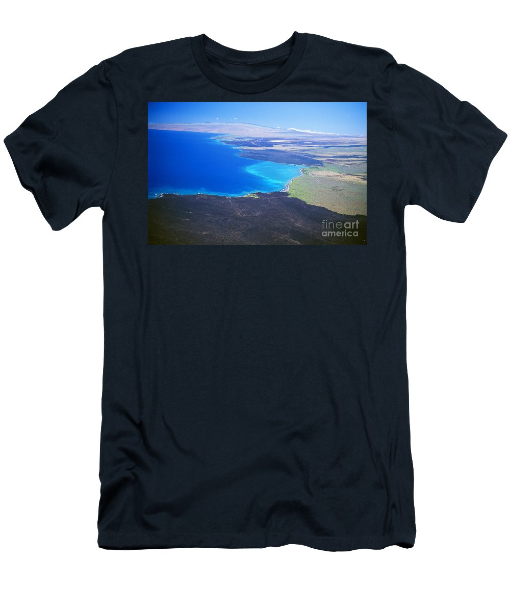 Above Men's T-Shirt (Athletic Fit) featuring the photograph Kiholo Bay, Aerial View by Peter French - Printscapes