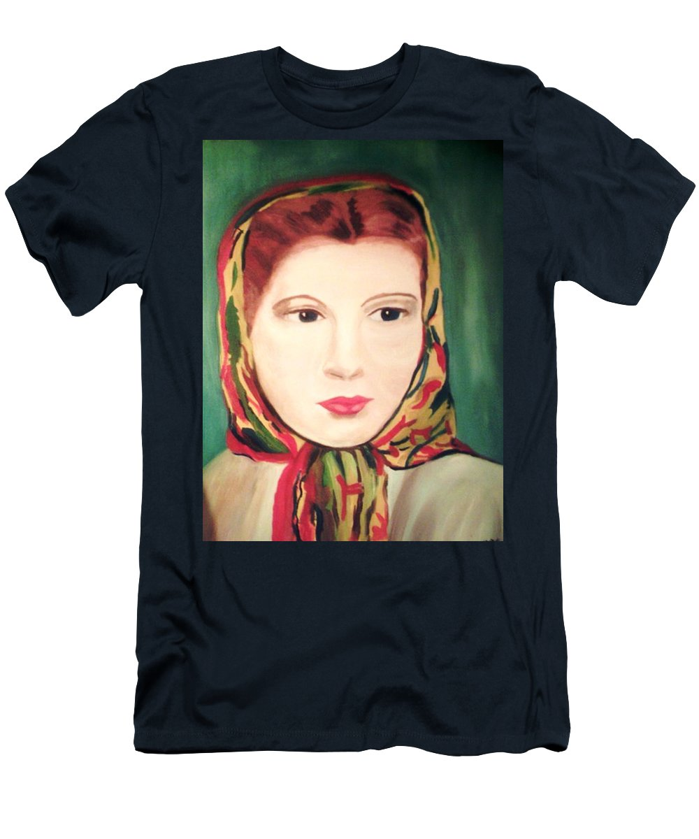 Woman Men's T-Shirt (Athletic Fit) featuring the painting Lady In A Scarf by Jo-Ann Hayden