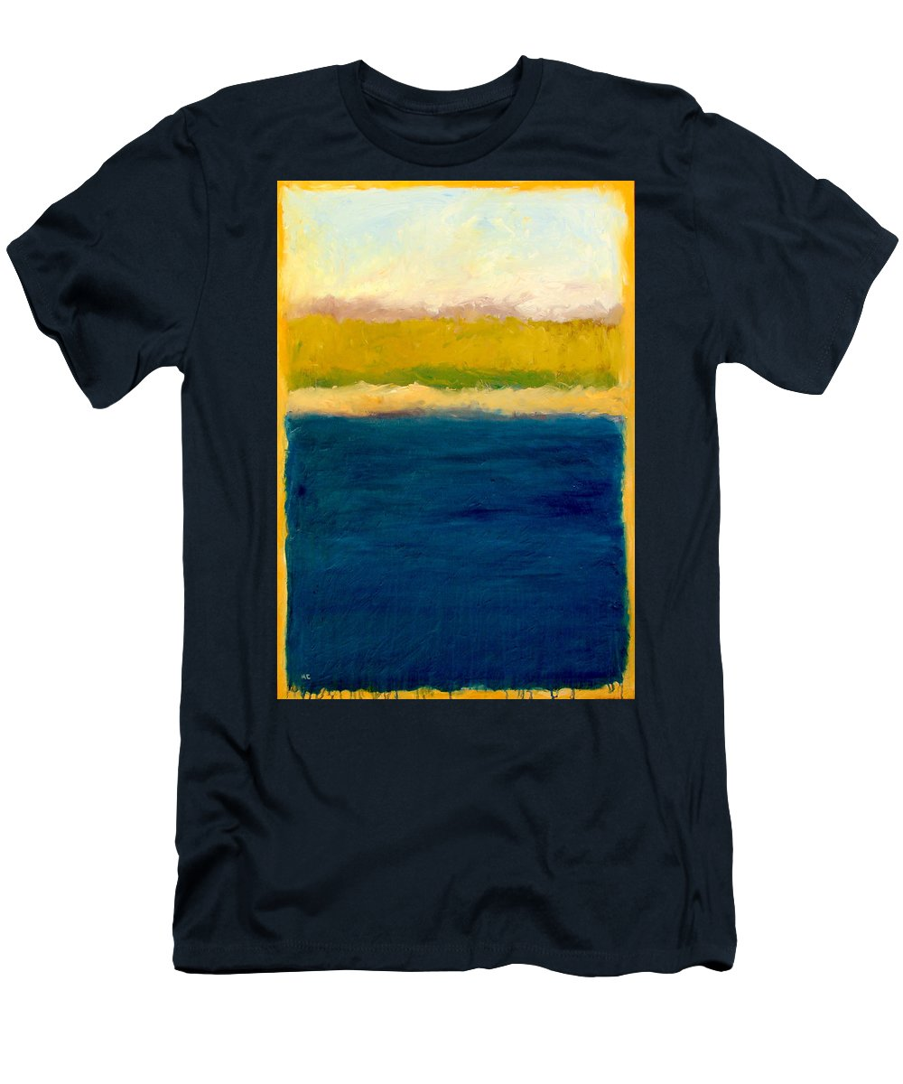 Dunes Men's T-Shirt (Athletic Fit) featuring the painting Lake Michigan Beach Abstracted by Michelle Calkins