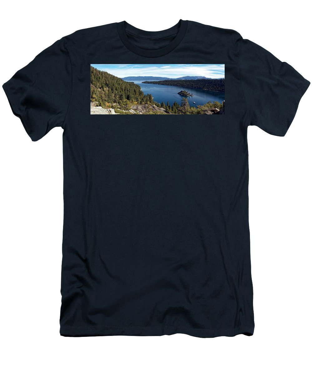 Lake Tahoe Men's T-Shirt (Athletic Fit) featuring the photograph Lake Tahoe Emerald Bay Panorama by Noel Baebler