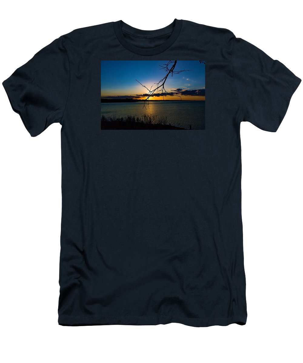 Lakes Men's T-Shirt (Athletic Fit) featuring the photograph Lakeshore Sunset by Paul Gibson