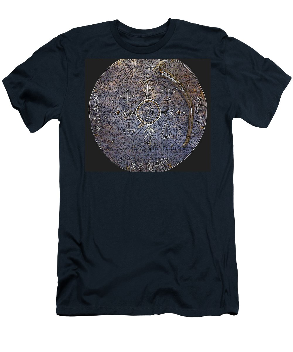 Lapland Men's T-Shirt (Athletic Fit) featuring the photograph Lapland Shaman Drum by Merja Waters
