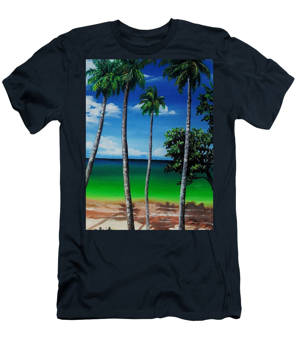 Trinidad Seascape T-Shirt featuring the painting Las Cuevas Bay by Karin Dawn Kelshall- Best