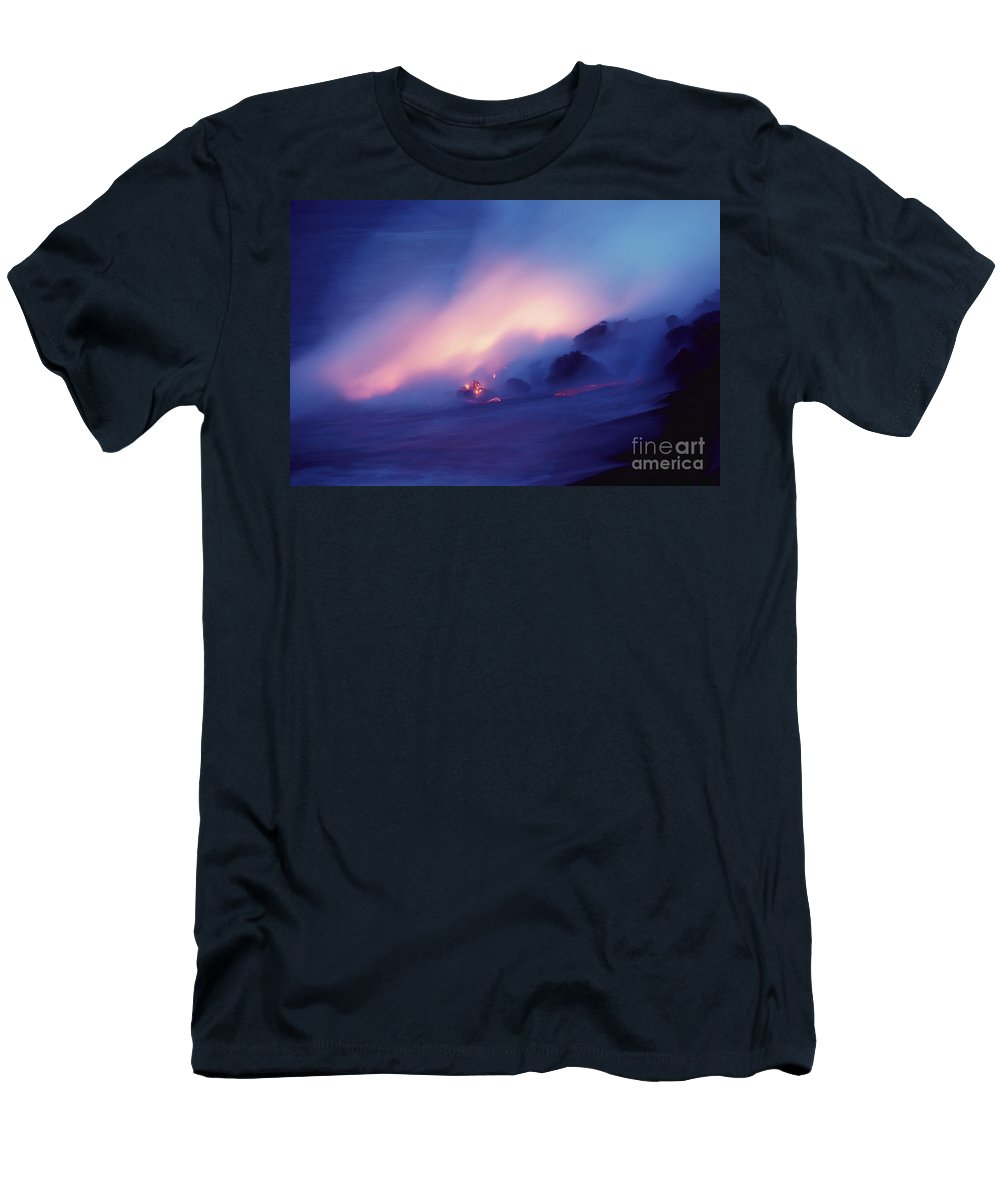 Active Men's T-Shirt (Athletic Fit) featuring the photograph Lava Flows At Twilight by Bob Abraham - Printscapes