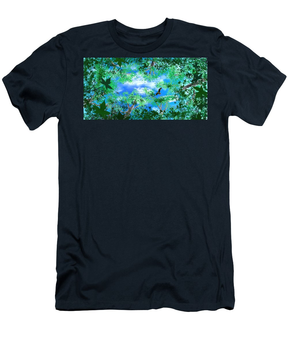 Skyscape Men's T-Shirt (Athletic Fit) featuring the digital art Laying On A Hammock by Steve Karol