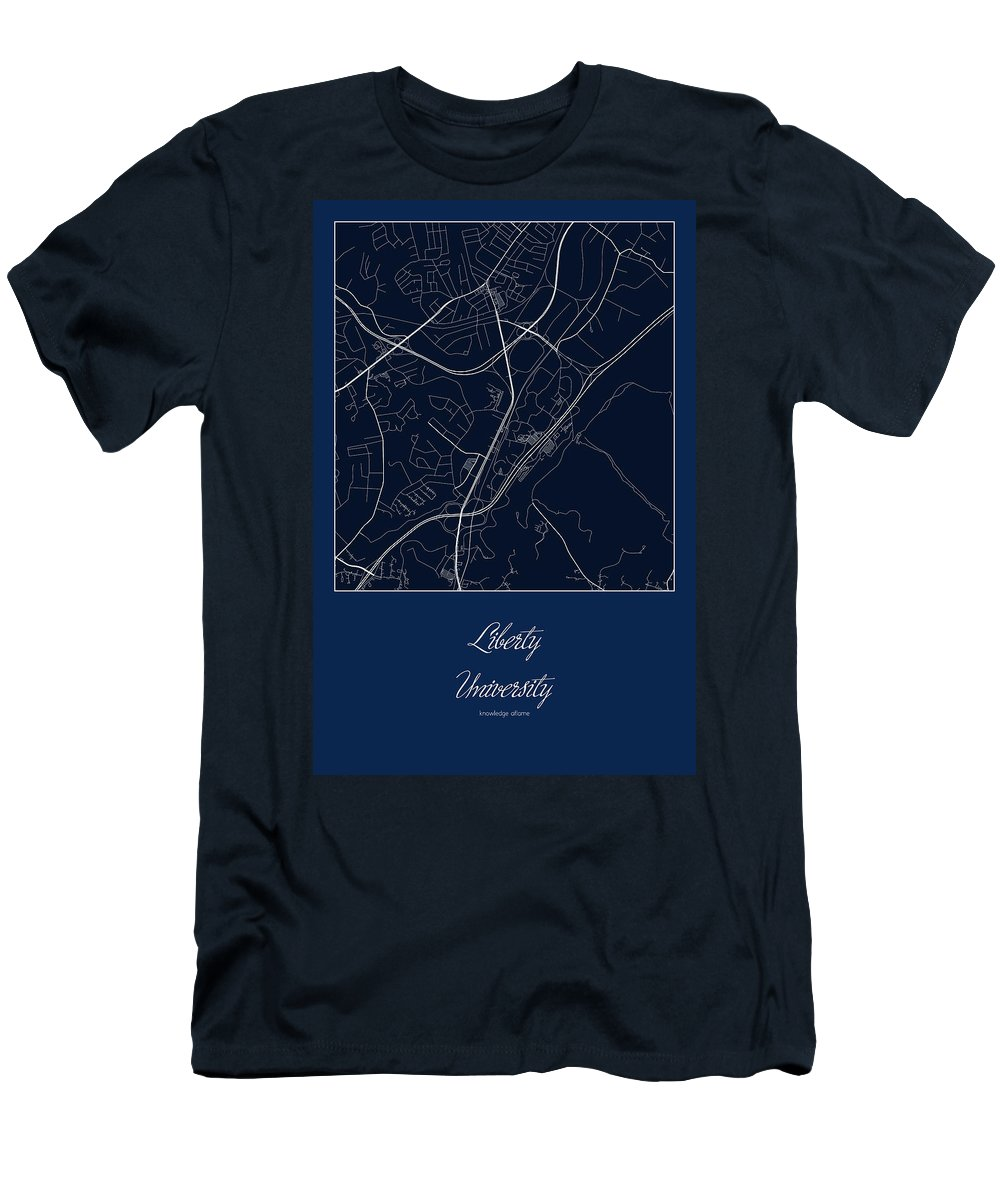 Road Map Men's T-Shirt (Athletic Fit) featuring the digital art Liberty Street Map - Liberty Lynchburg Map by Jurq Studio