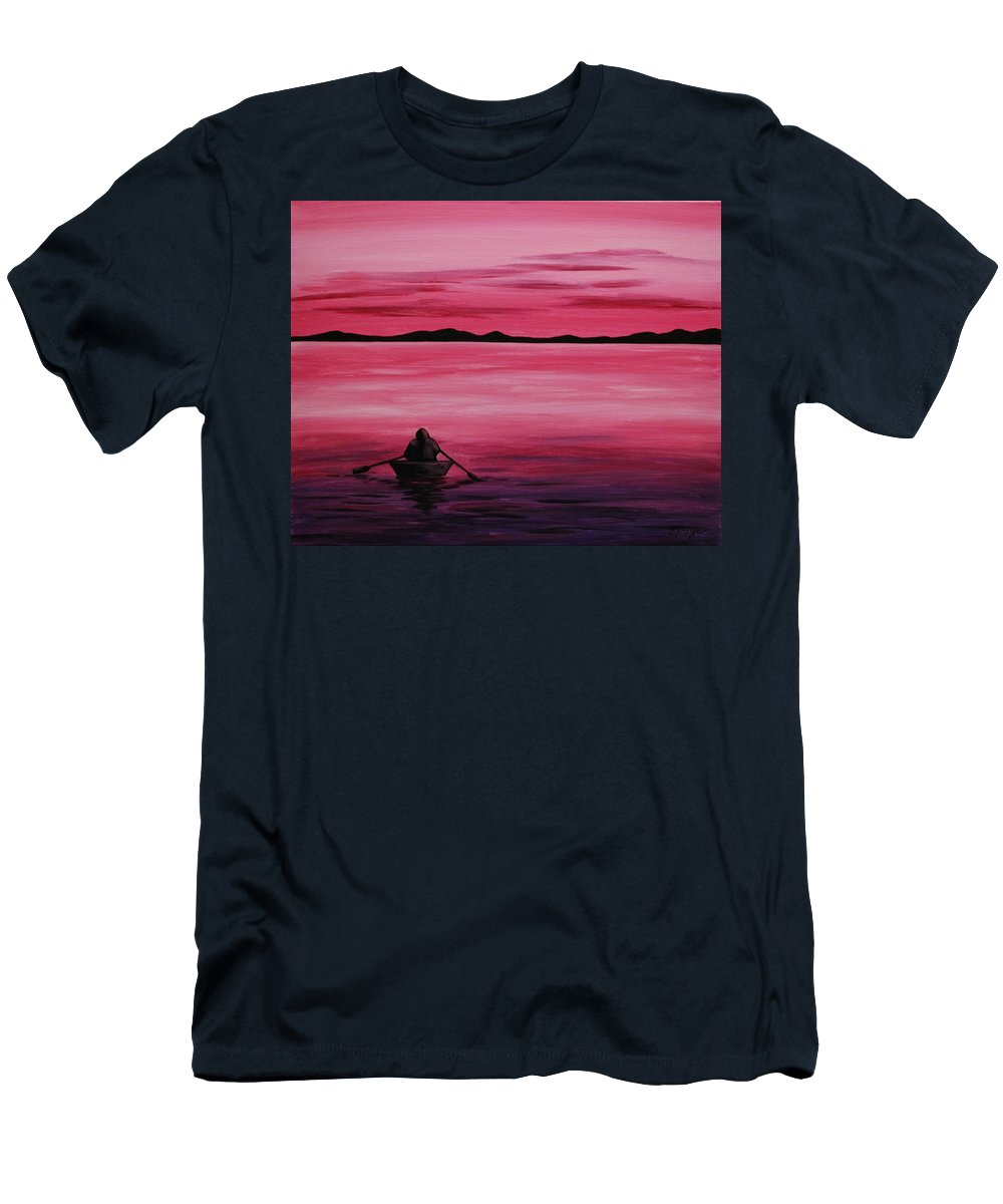 Rowboat Men's T-Shirt (Athletic Fit) featuring the painting Life Is But A Dream by Emily Page