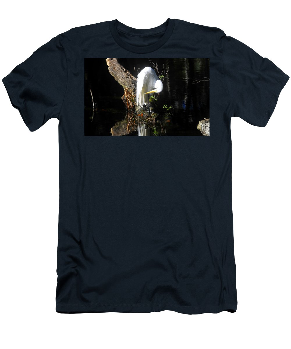 Great Egret Men's T-Shirt (Athletic Fit) featuring the photograph Life On The River by David Lee Thompson